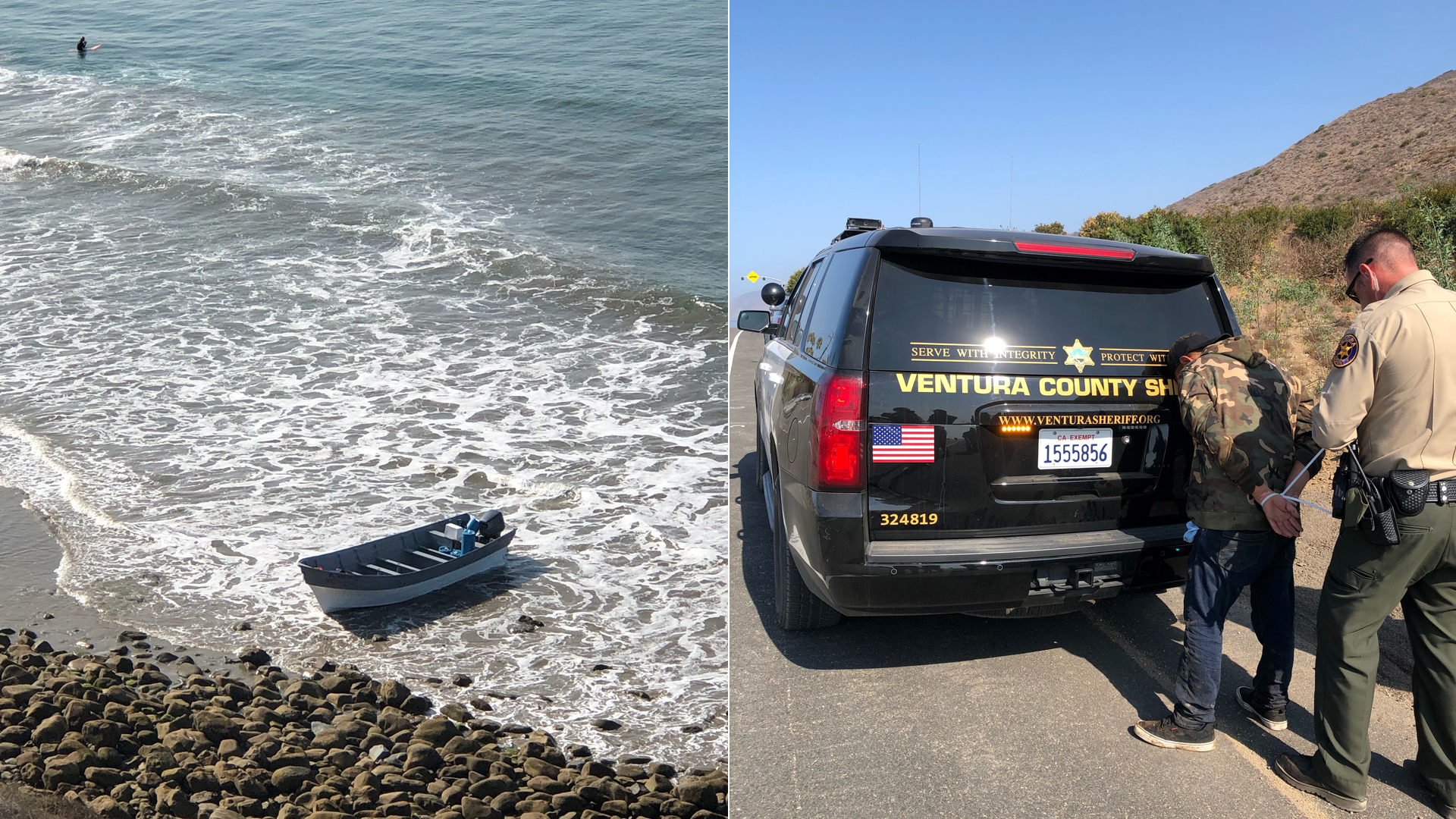 The panga boat and one person who was detained are shown in photos provided by the Ventura County Sheriff's Office on Aug. 12, 2021.
