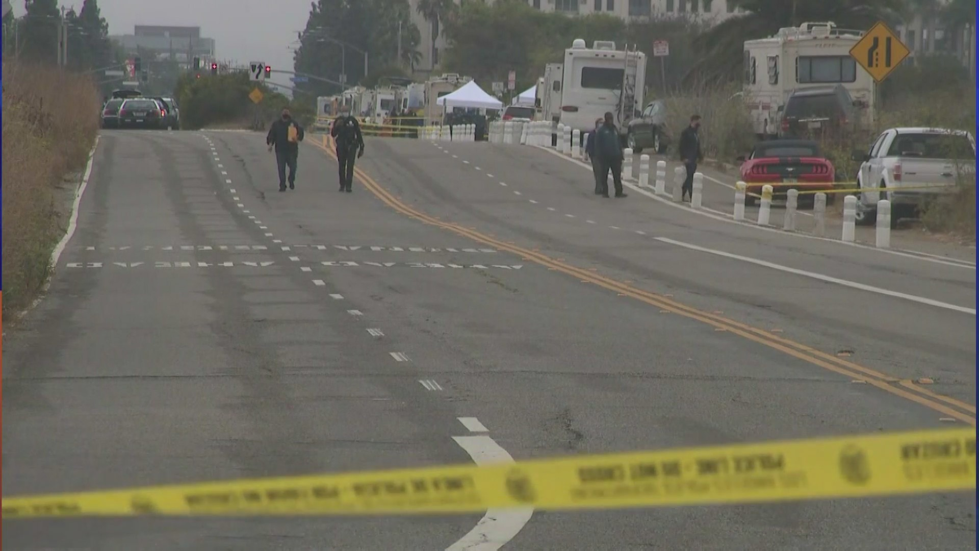 Four people believed to be homeless were wounded in a predawn shooting in Playa del Rey on Aug. 18, 2021. (KTLA)