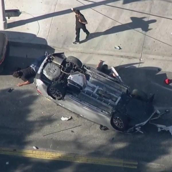 A high-speed pursuit ended in a violent crash in Echo Park on Aug. 5, 2021. (KTLA)