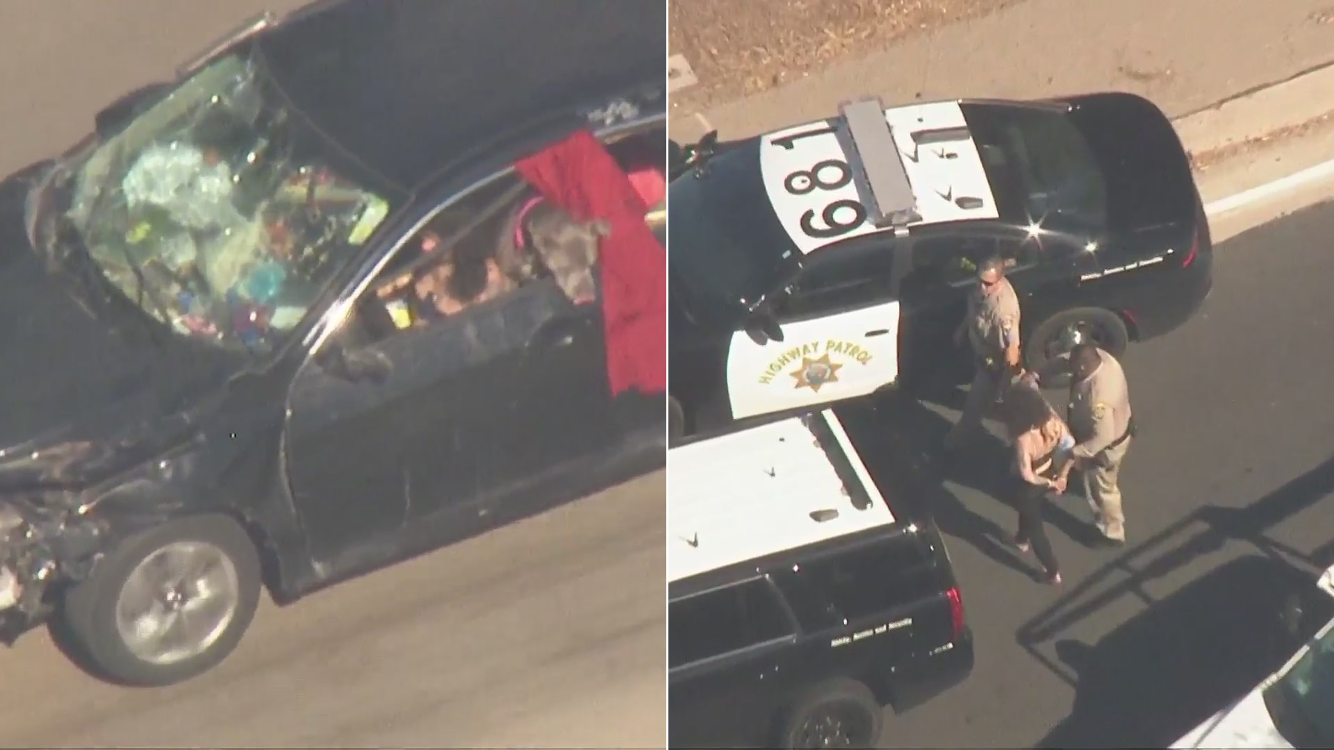 A woman is seen being detained in North Hills after leading officers on a pursuit in her damaged, packed car on Aug. 3, 2021. (KTLA)