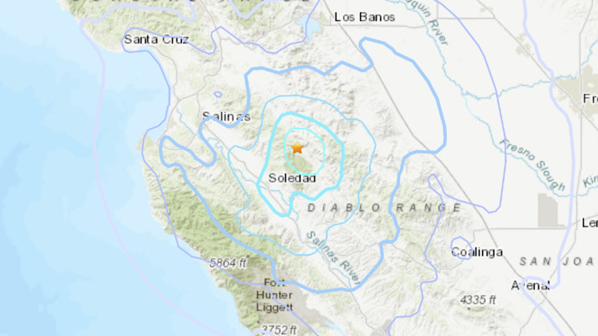 A 4.1 magnitude earthquake struck in west-central California on Aug. 31. 2021. (USGS)