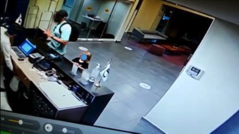 A man identified by prosecutors as Matthew Taylor Coleman is seen in a surveillance image from City Express hotel in Rosarito released by the Baja California Attorney General's Office.
