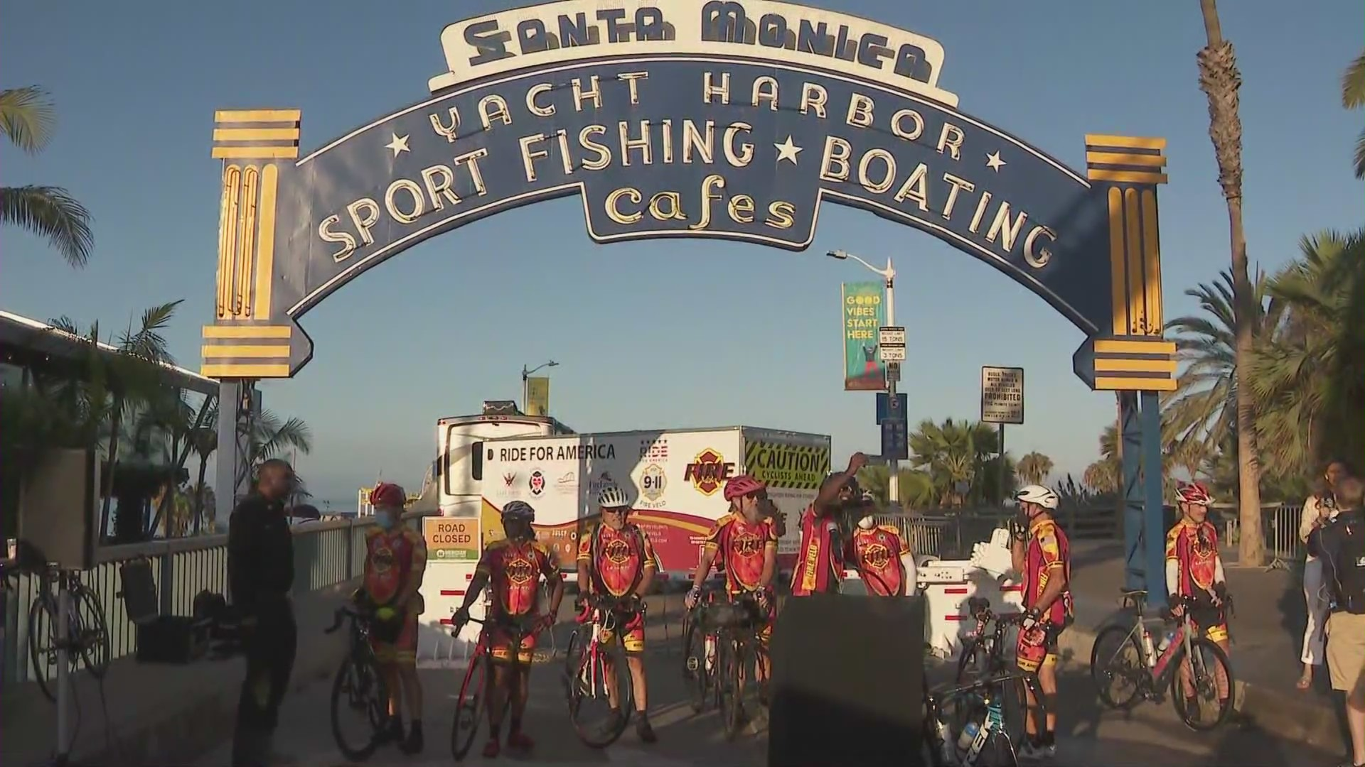A group of 15 firefighter kicked off a cross-country bike ride from the Santa Monica Pier to New York City in time for the 20th anniversary of September 11.