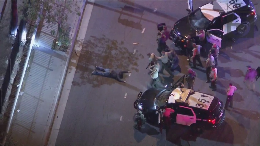 Pursuit ends with crash in East L.A., driver taken into custody