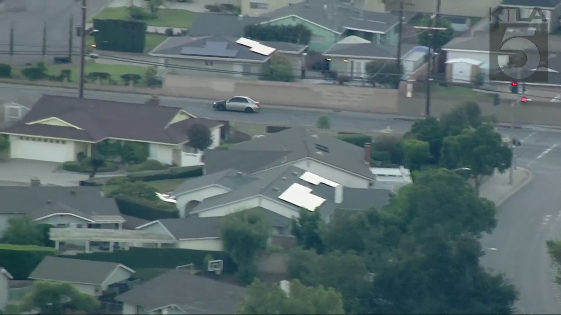 Authorities were in pursuit of a vehicle in the Glendora area on Aug. 3, 2021. (KTLA)