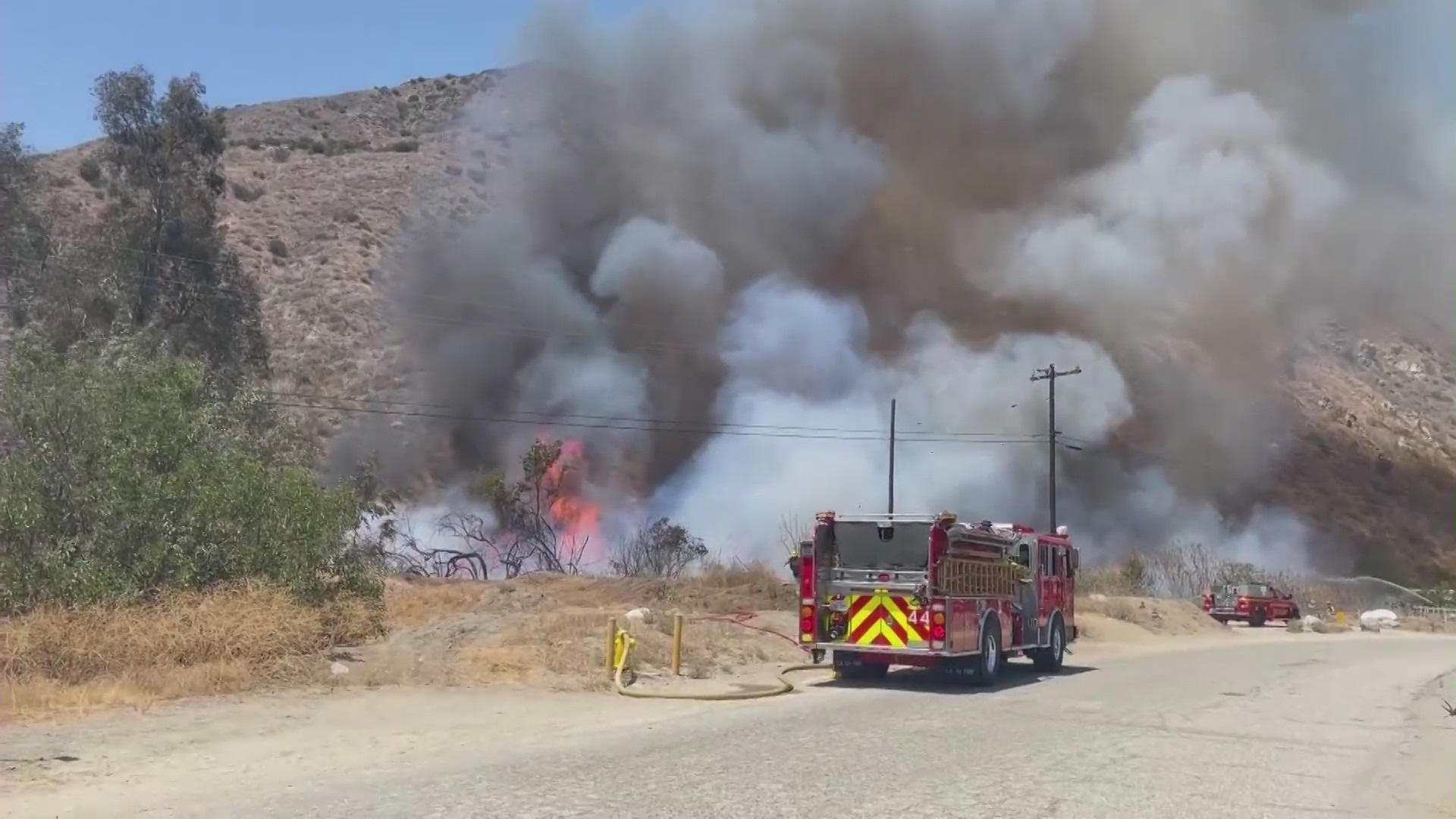 The Hungry Fire burns in Gorman after erupting on July 31. (KTLA)