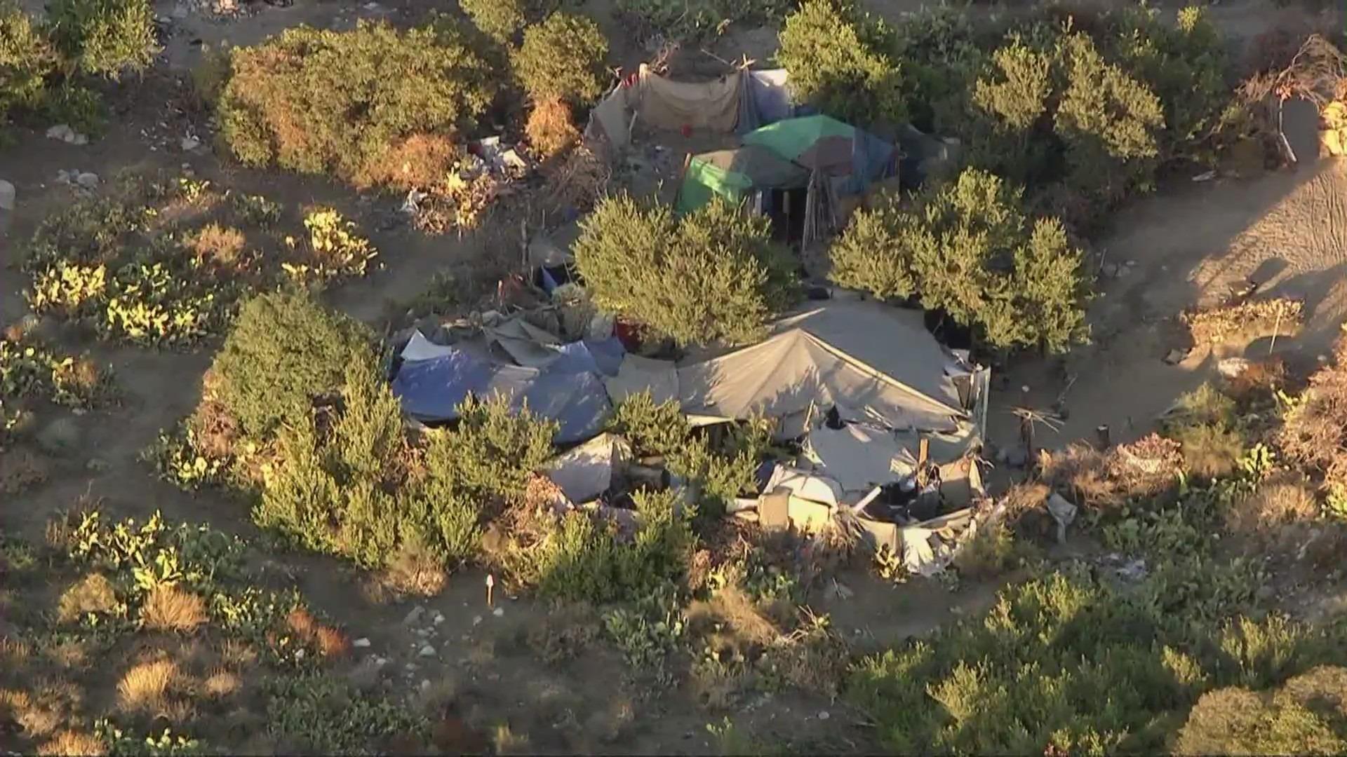 A homeless encampment at Lario Park is seen on Aug. 3, 2021. (KTLA)