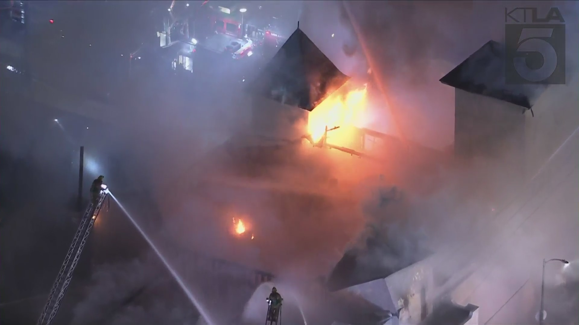 A greater alarm structure fire broke out at a two story church near downtown Los Angeles Friday evening. (KTLA)