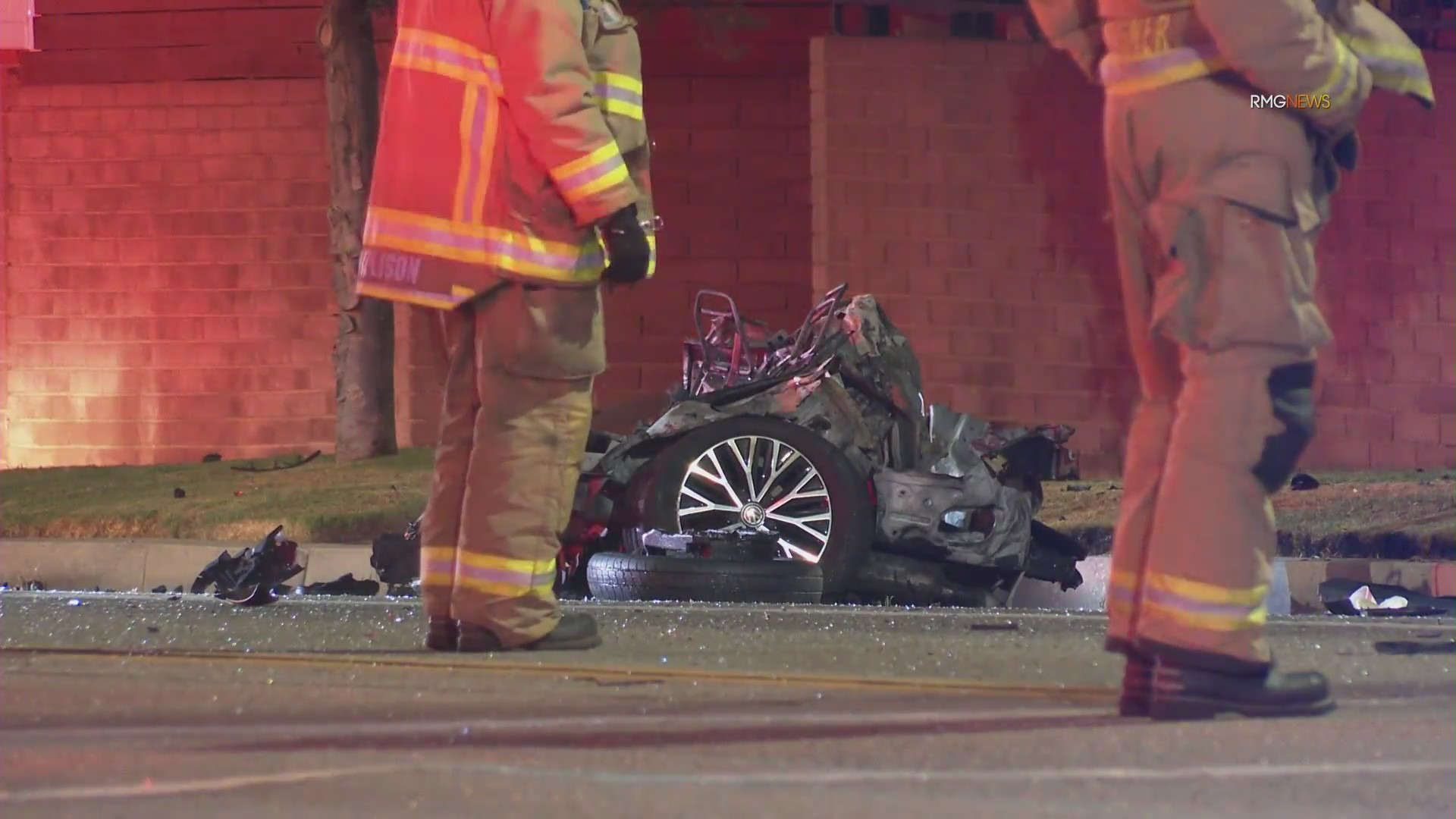 Emergency crews respond to a fatal crash in Burbank on Aug. 3, 2021. (RMG News)