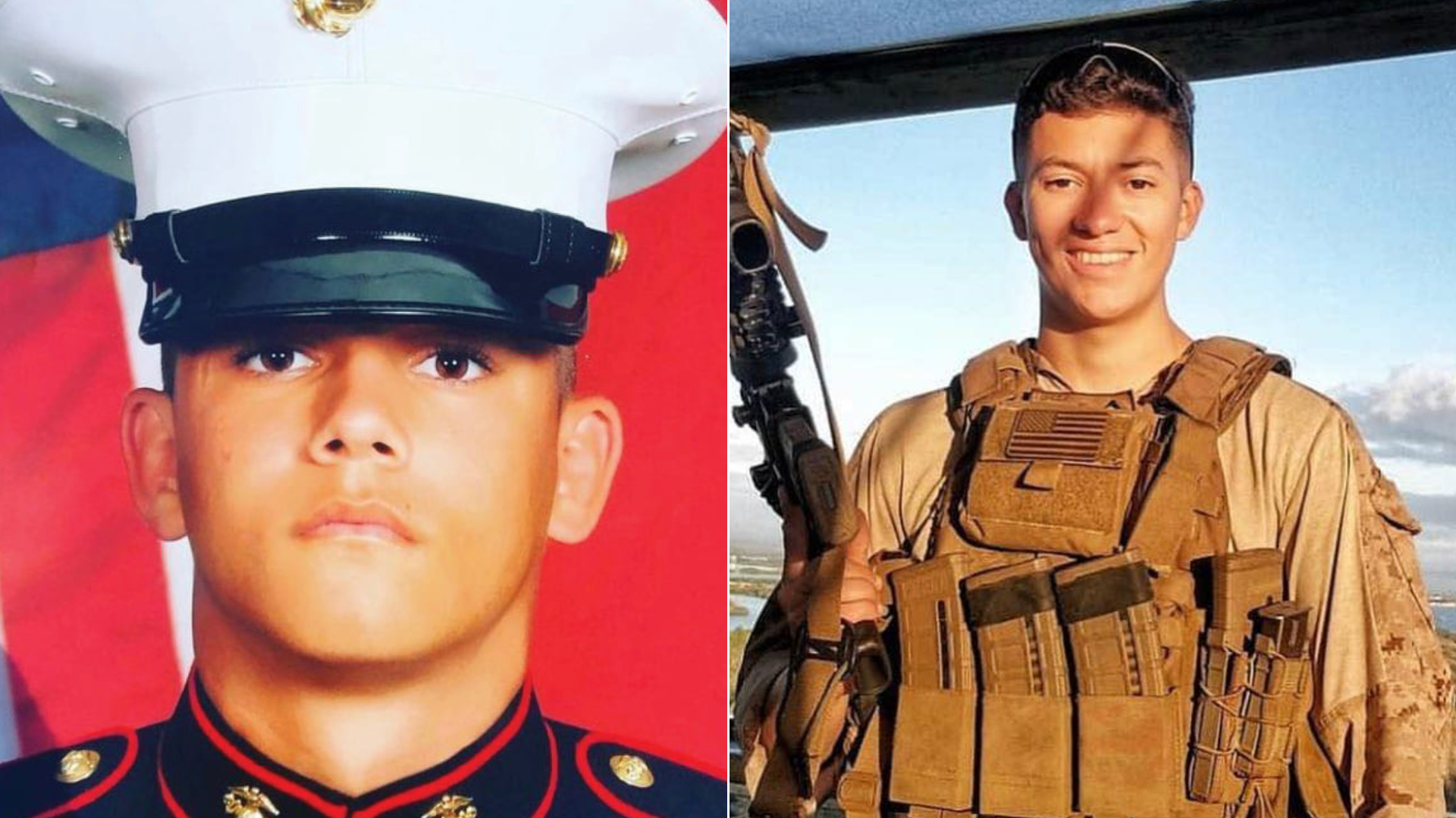Lance Cpl. Kareem Nikoui, left, is seen in a U.S. Marine Corps portrait provided by the city of Norco. At right, Marine Corps Cpl. Hunter Lopez is seen in a photo provided by Riverside County Sheriff Chad Bianco.