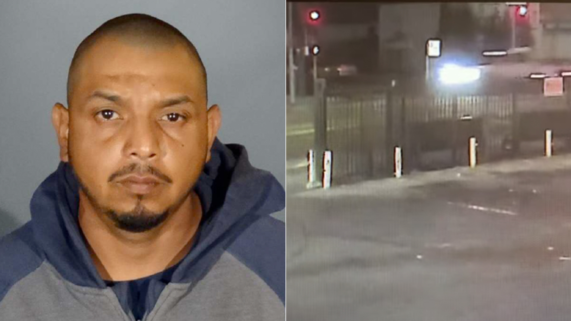 Javier Garcia is shown in a photo released by the LAPD on Aug. 26, 2021. On the right, surveillance video of an Aug. 11 fatal hit-and-run crash.