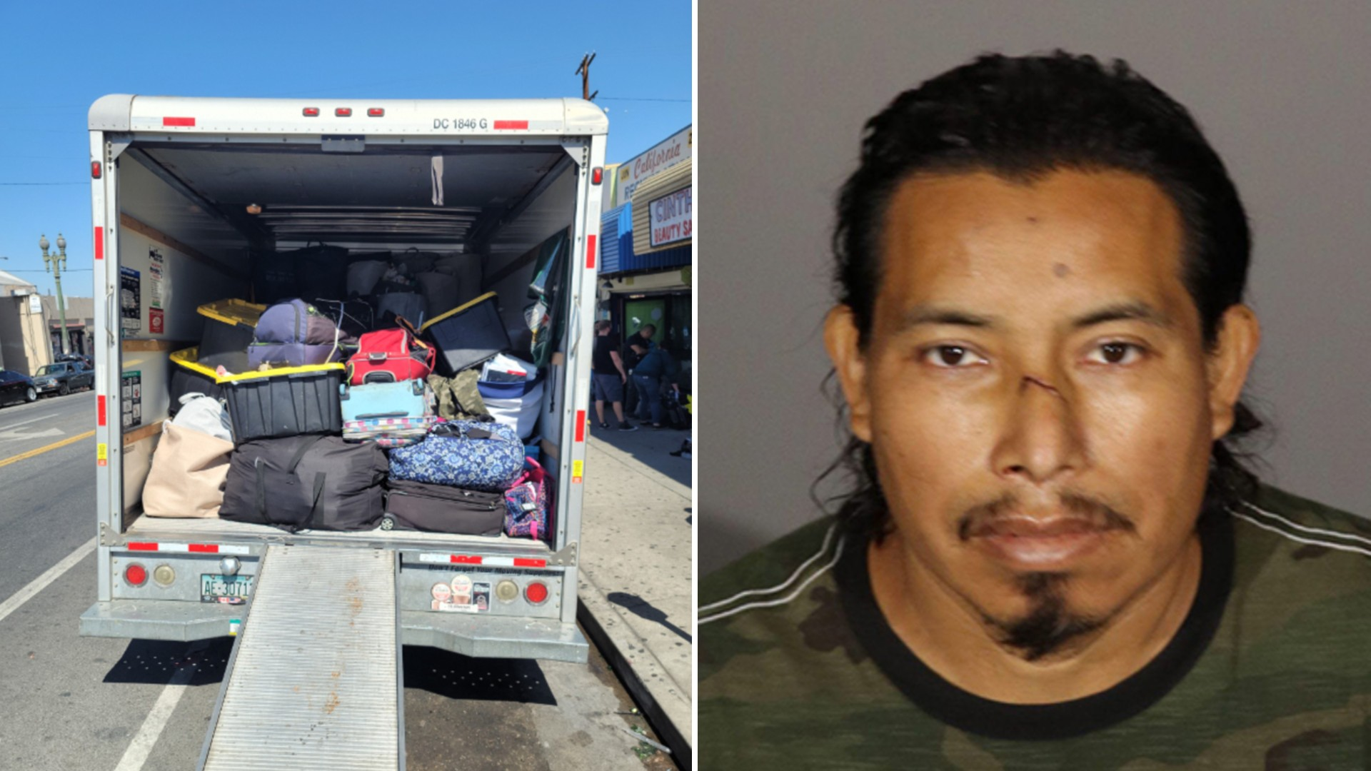 Angel Pedro, 44 of Los Angeles, is seen in a photo released on Aug. 9, 2021, next to an image of stolen items he allegedly tried to resell. (Glendale Police Department)