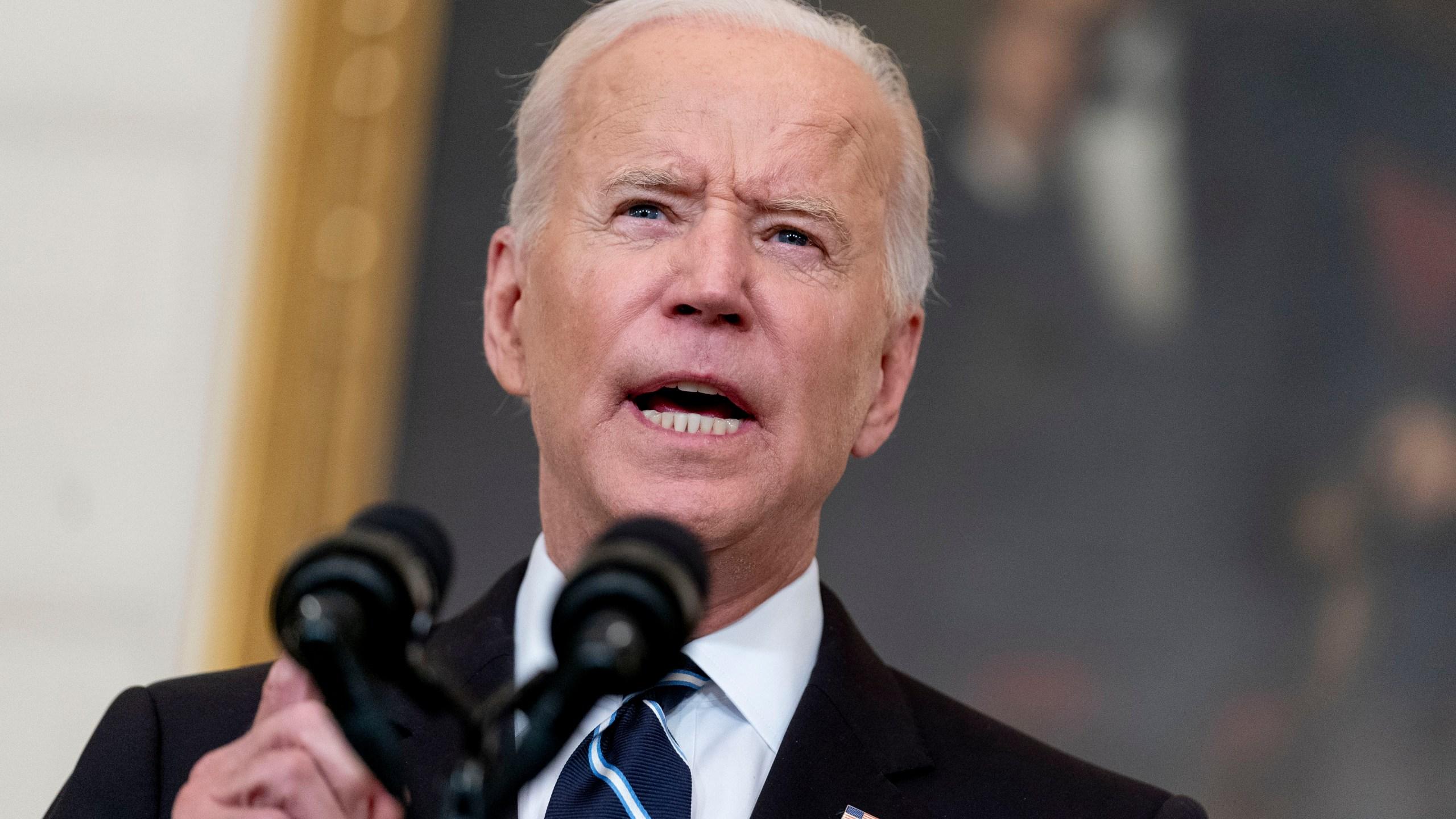 President Joe Biden speaks in the State Dining Room at the White House, Thursday, Sept. 9, 2021, in Washington. (AP Photo/Andrew Harnik)
