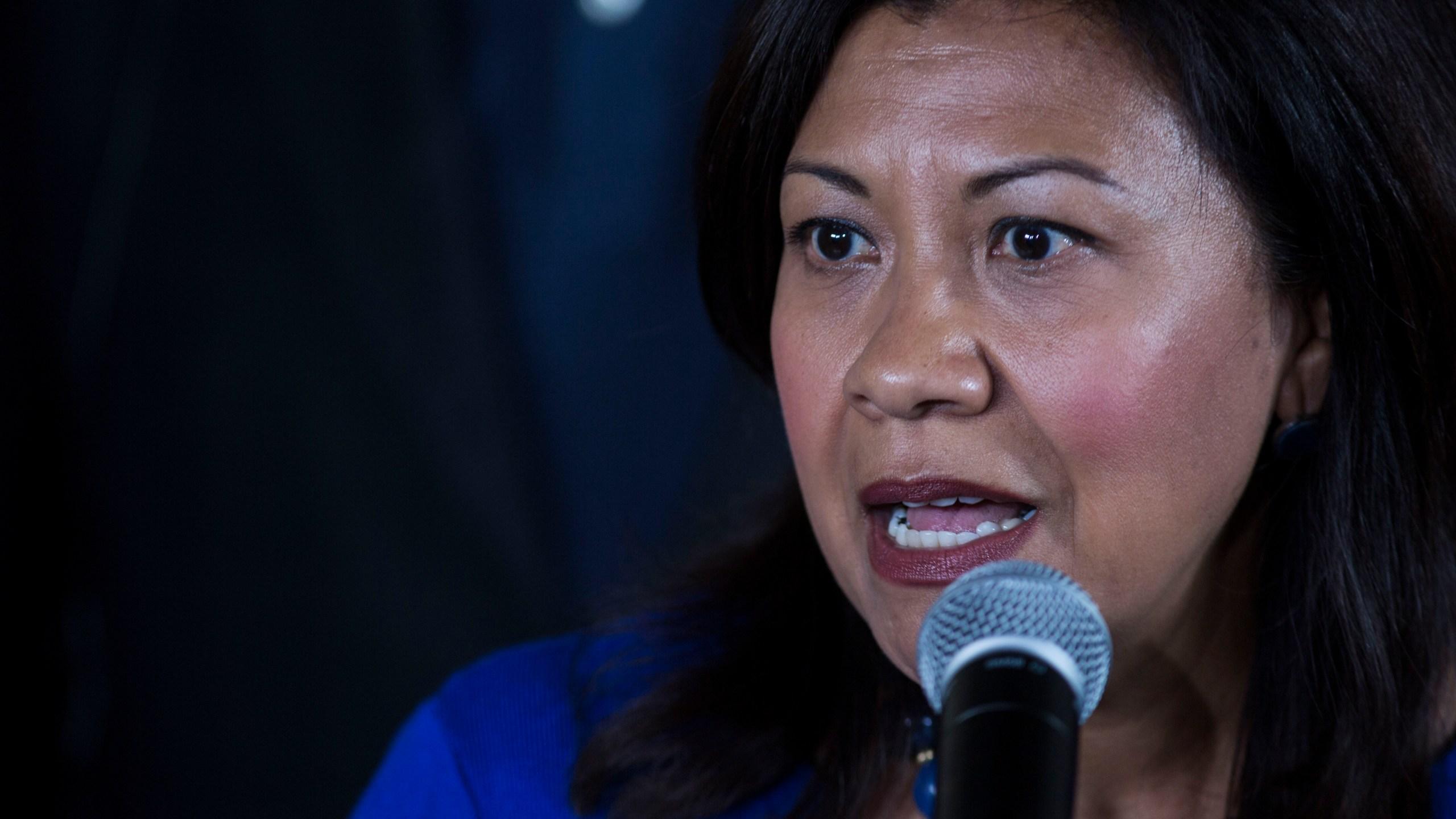 U.S. Rep. Norma Torres, D-Calif. speaks during a news conference on Aug. 8, 2019. (Oliver de Ros/Associated Press)