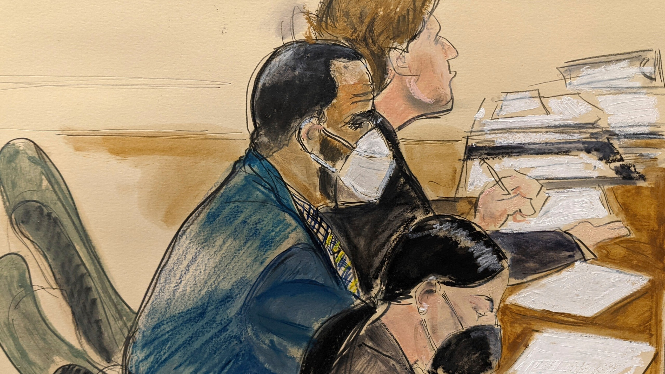 In this courtroom artist's sketch R. Kelly, left, listens during his trial in New York on Aug. 26, 2021.(AP Photo/Elizabeth Williams)