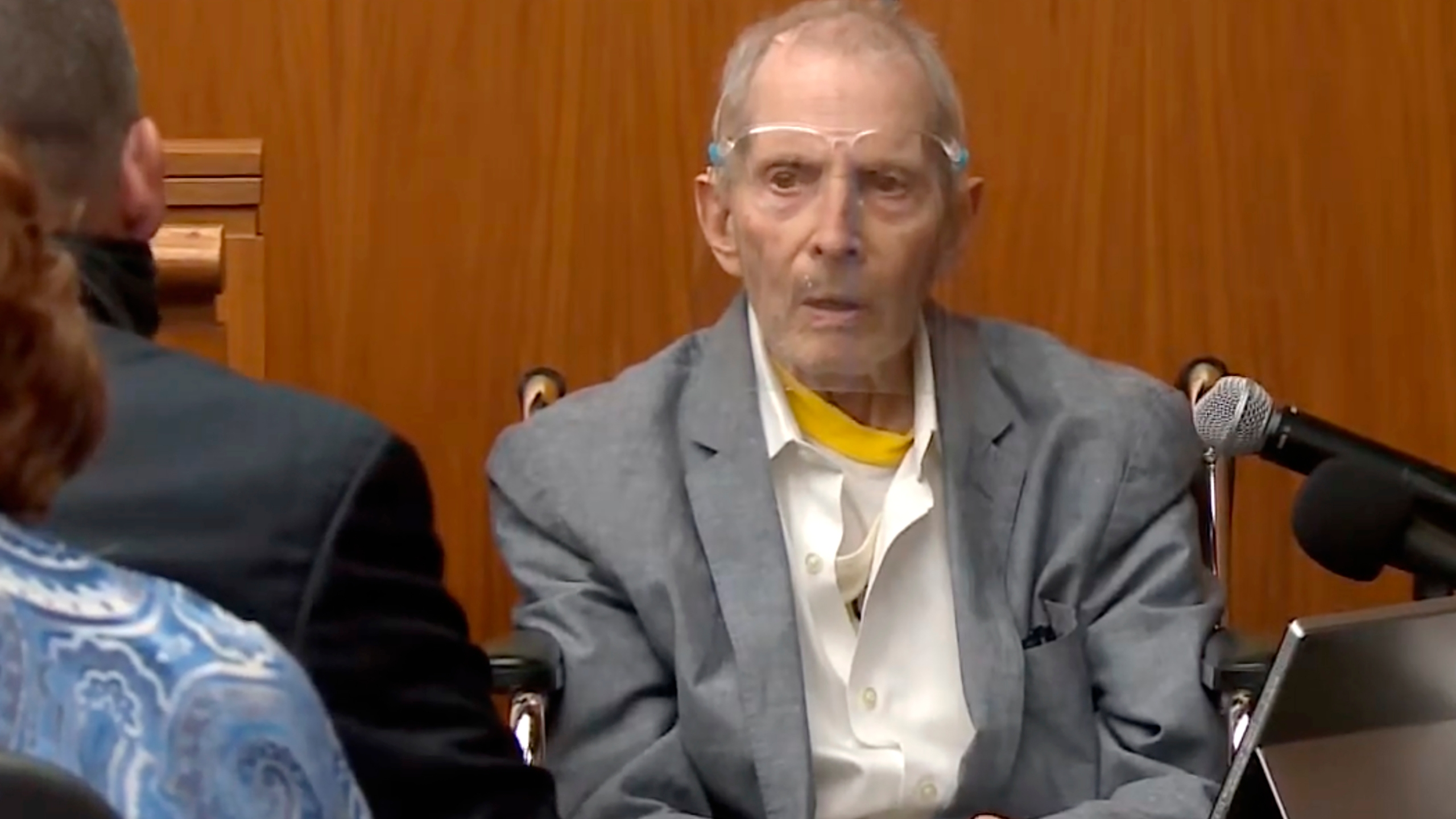 In this still image taken from the Law & Crime Network court video, real estate heir Robert Durst answers questions while taking the stand during his murder trial on Aug. 31, 2021, in Los Angeles County Superior Court in Inglewood, Calif. (Law & Crime Network via AP, Pool)