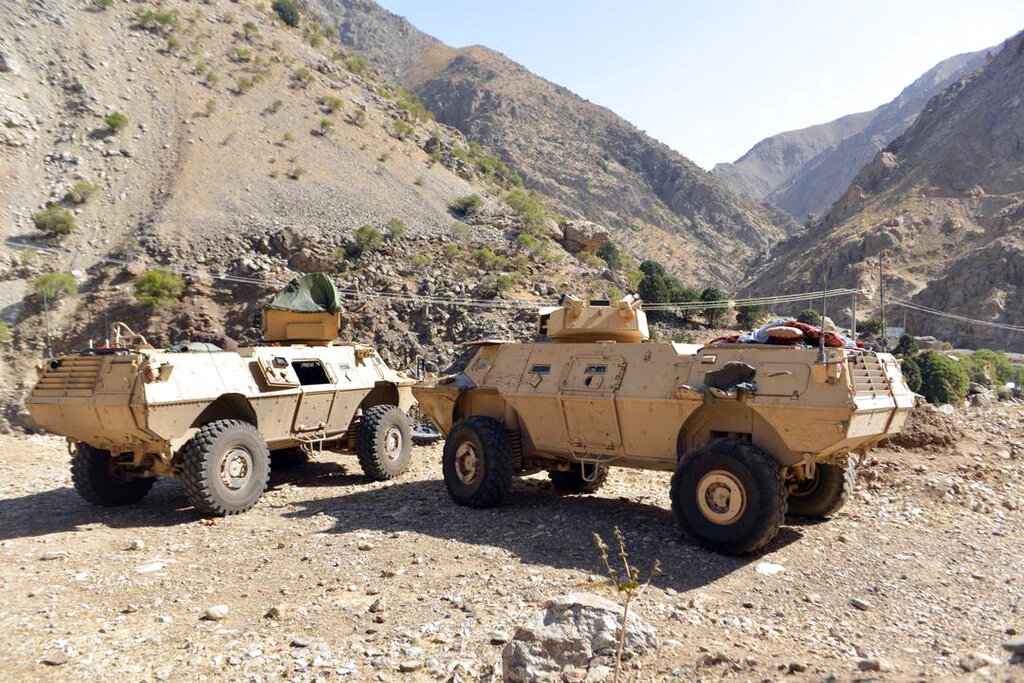 In this Aug. 25, 2021, file photo, armored vehicles are seen in Panjshir Valley, north of Kabul, Afghanistan. (AP Photo/Jalaluddin Sekandar)