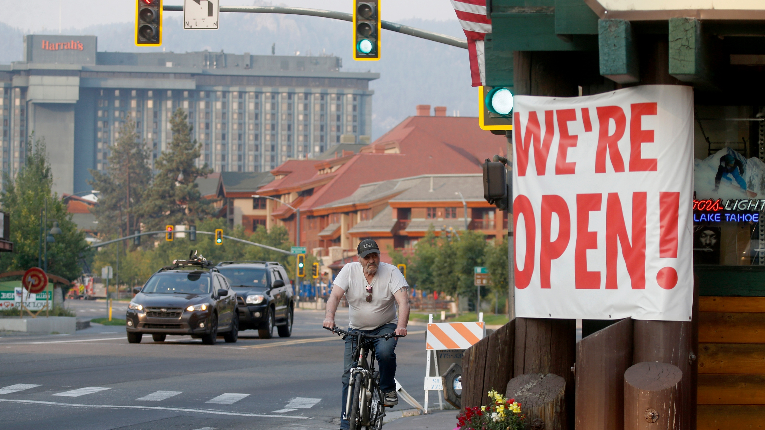 Traffic flows along Highway 50 near Stateline, Nev., as residents begin to return to South Lake Tahoe, Calif., on Sunday, Sept. 5, 2021. (Jane Tyska/Bay Area News Group via AP)
