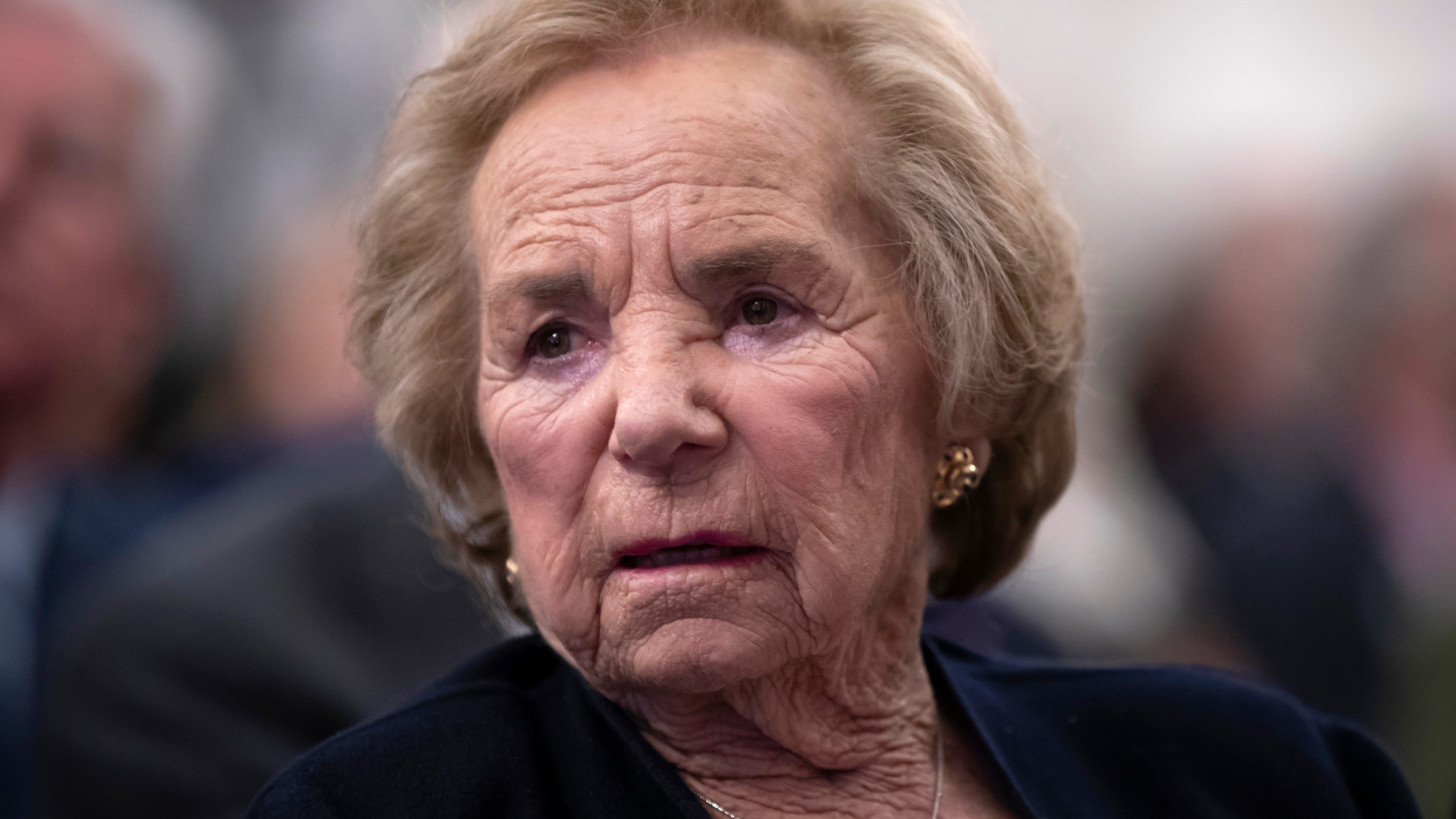 In this June 5, 2018 file photograph, Ethel Kennedy, widow of Senator Robert F. Kennedy who was assassinated during his 1968 presidential campaign, watches a video about her late husband during the Robert F. Kennedy Human Rights awards ceremony on Capitol Hill. (J. Scott Applewhite/Associated Press)