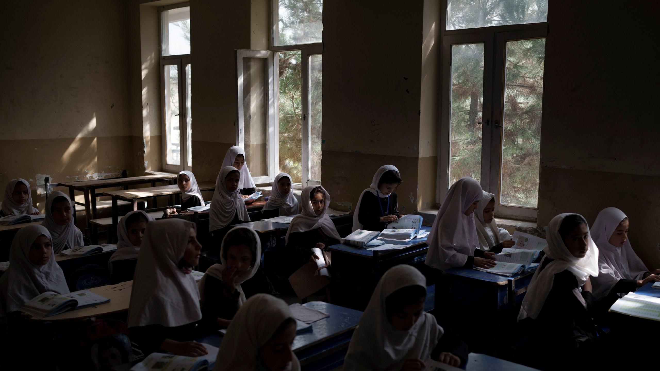 Girls prepare for class at a school in Kabul, Afghanistan, Sunday, Sept. 12, 2021. (AP Photo/Felipe Dana)Girls prepare for class at a school in Kabul, Afghanistan, Sunday, Sept. 12, 2021. (AP Photo/Felipe Dana)
