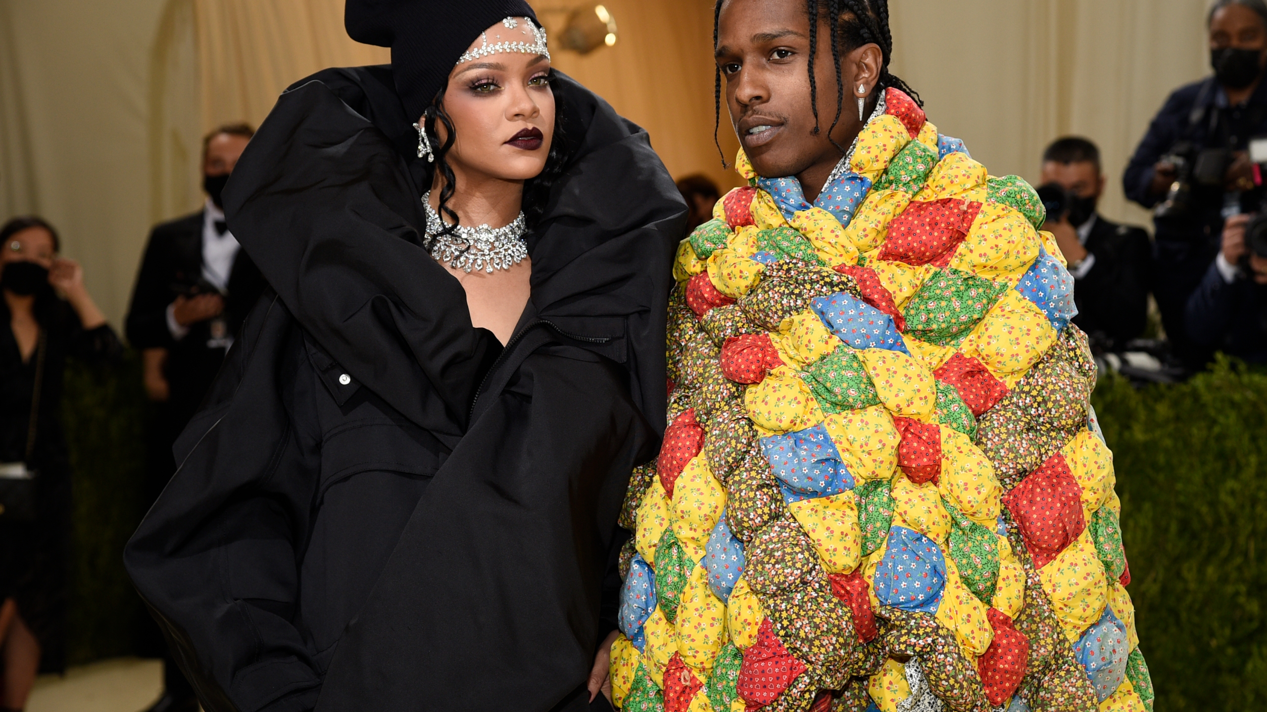 """Rihanna, left, and A$AP Rocky attend The Metropolitan Museum of Art's Costume Institute benefit gala celebrating the opening of the """"In America: A Lexicon of Fashion"""" exhibition on Sept. 13, 2021, in New York. (Evan Agostini/Invision/AP)"""