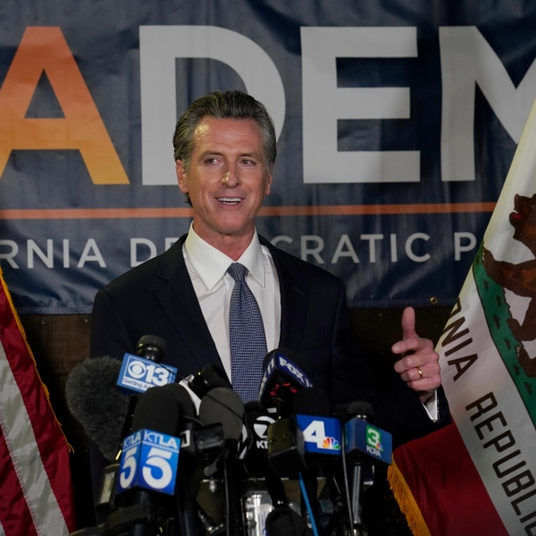 California Gov. Gavin Newsom addresses reporters at the California Democratic Party headquarters in Sacramento after beating back the recall attempt that aimed to remove him from office on Sept. 14, 2021. (Rich Pedroncelli / Associated Press)