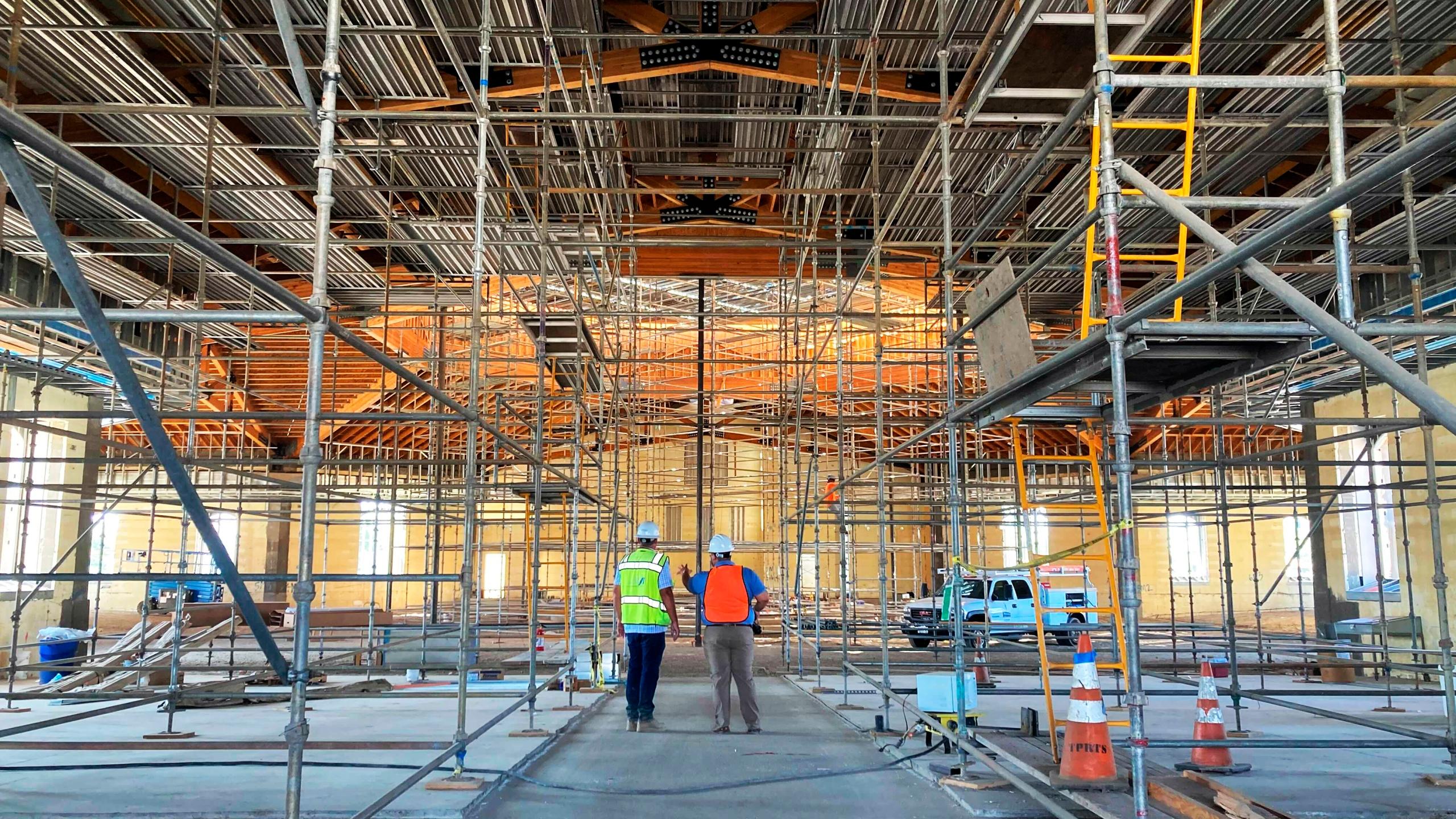 The interior of the St. Charles Borromeo Catholic Church construction site in Visalia, Calif., on Aug. 26, 2021. (Alejandra Molina/RNS via Associated Press)