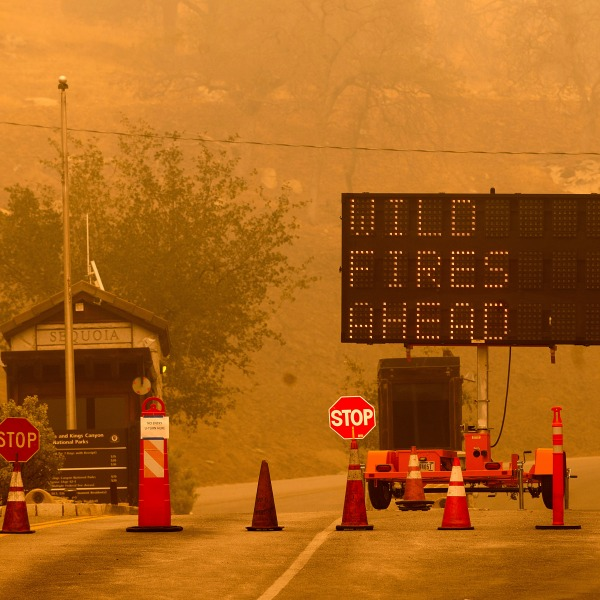 Cones block the entrance to Sequoia National Park as the KNP Complex Fire burns nearby on Sept. 15, 2021. (Noah Berger / Associated Press)