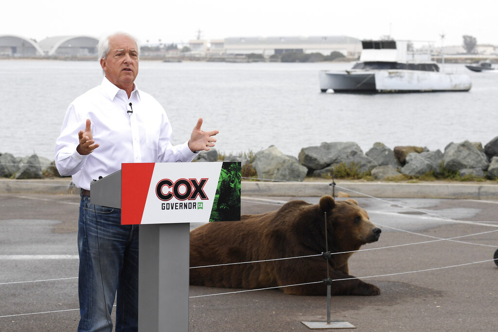 In this May 11, 2021, file photo, California gubernatorial candidate John Cox speaks in front of his Kodiak bear at a campaign event held on Shelter Island in San Diego. (AP Photo/Denis Poroy, File)