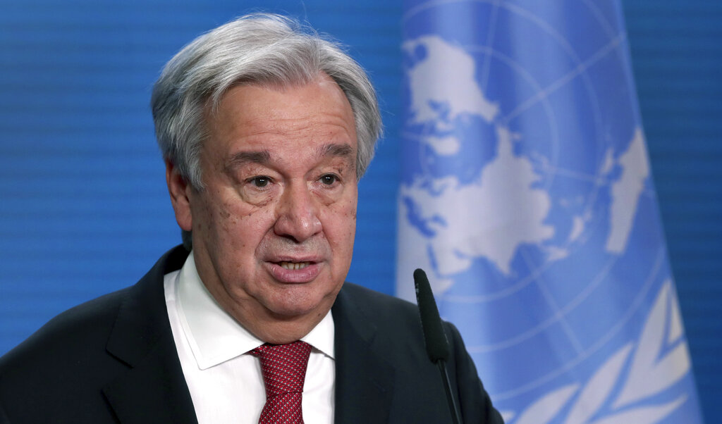 In this Dec. 17, 2020 file photo, UN Secretary-General Antonio Guterres addresses the media during a joint press conference in Berlin, Germany. (AP Photo/Michael Sohn, pool, File)