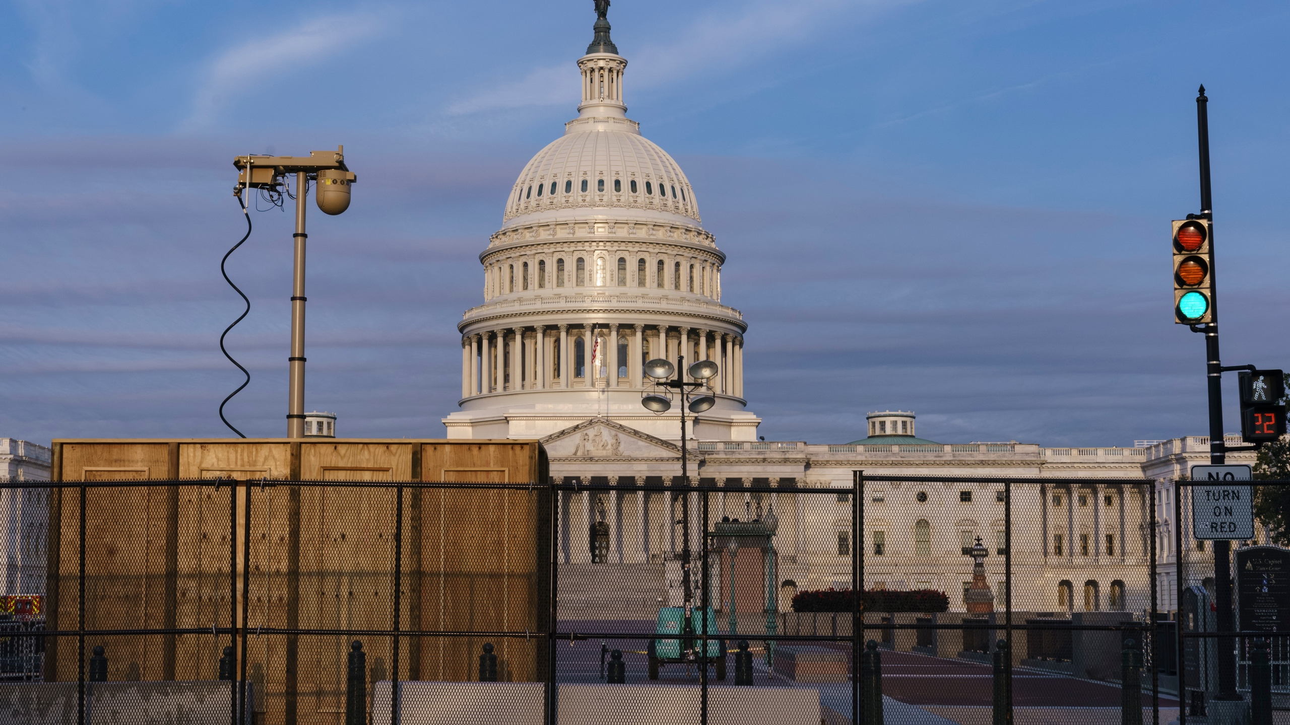 Security fencing and video surveillance equipment has been installed around the Capitol in Washington, on Sept. 16, 2021, ahead of a planned Sept. 18 rally by far-right supporters of former President Donald Trump. (AP Photo/J. Scott Applewhite)