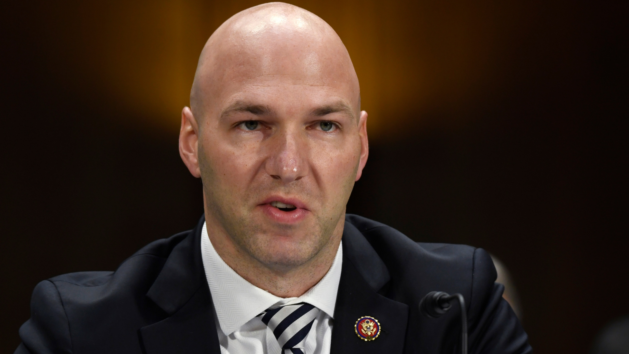 In this Feb. 11, 2020, file photo, Rep. Anthony Gonzalez, R-Ohio, speaks during a Senate Commerce subcommittee hearing on Capitol Hill in Washington, on intercollegiate athlete compensation. (AP Photo/Susan Walsh, File)