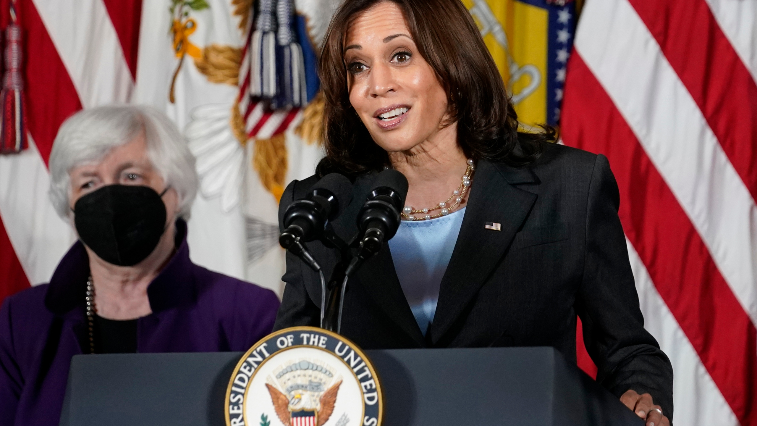 """Vice President Kamala Harris, right, speaks as Treasury Secretary Janet Yellen listens during an event at the Treasury Department in Washington on Sept. 15, 2021. Harris will appear on the daytime talk series """"The View"""" on Friday. (AP Photo/Susan Walsh, File)"""