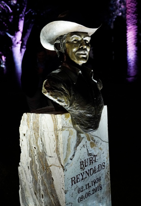 A memorial sculpture of the late actor Burt Reynolds is pictured following its unveiling at a ceremony at Hollywood Forever Cemetery on Sept. 20, 2021. (Chris Pizzello/Associated Press)