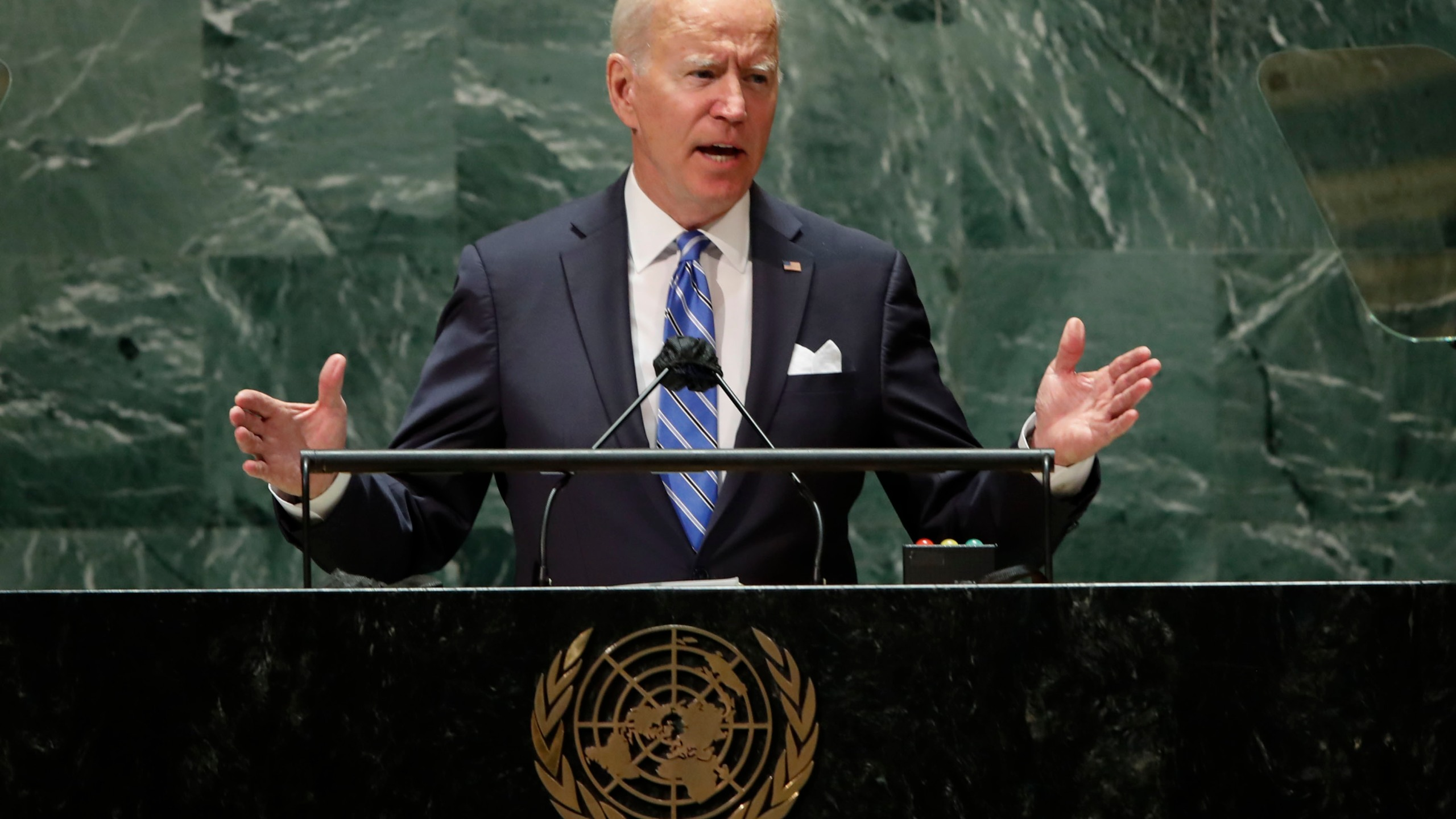 U.S. President Joe Biden speaks during the 76th Session of the United Nations General Assembly at U.N. headquarters in New York on Tuesday, Sept. 21, 2021. (Eduardo Munoz/Pool Photo via AP)