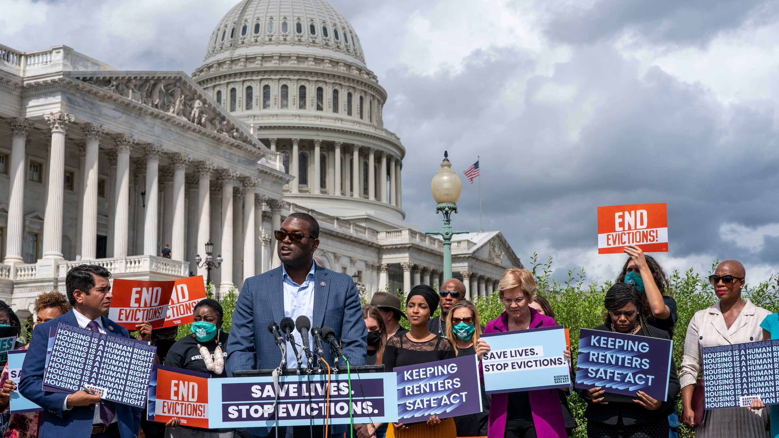 Rep. Mondaire Jones, D-N.Y., joins progressive lawmakers to advocate for reimposing a nationwide eviction moratorium that lapsed last month, at the Capitol in Washington, Tuesday, Sept. 21, 2021. (AP Photo/J. Scott Applewhite)