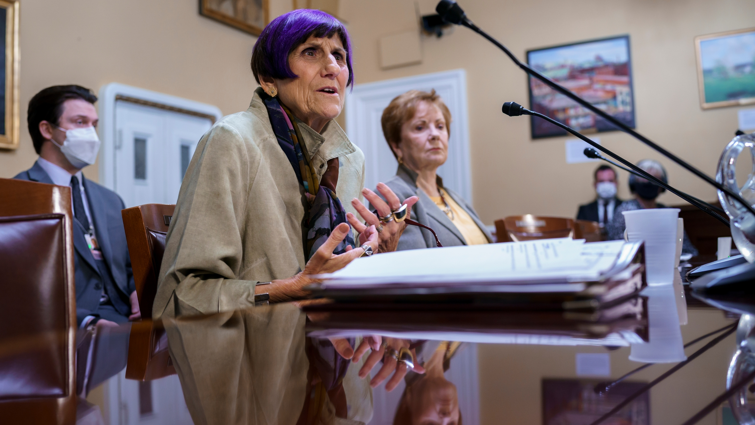 House Appropriations Committee Chair Rosa DeLauro, D-Conn., left, joined by Rep. Kay Granger, R-Texas, the ranking member of Appropriations, appear before the House Rules Committee as they field questions about the politics of the federal debt, at the Capitol in Washington on Sept. 21, 2021. (AP Photo/J. Scott Applewhite)