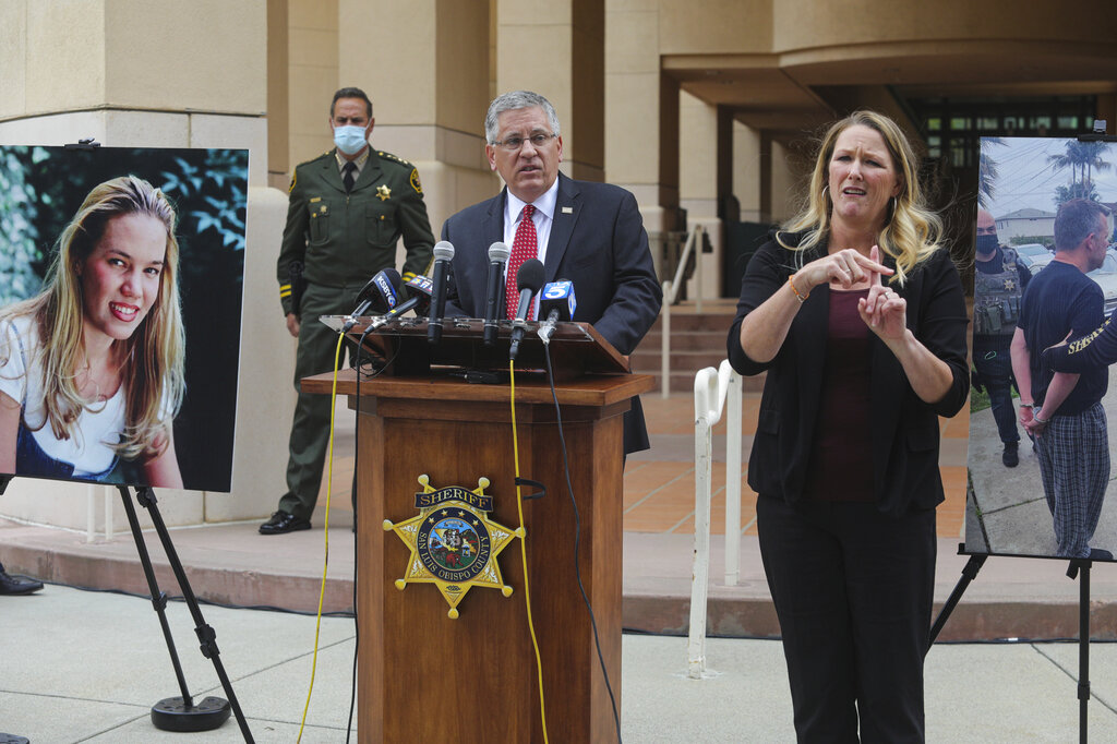 In this April 13, 2021, file photo, Cal Poly President Jeffrey Armstrong, center, speaks during a news conference in San Luis Obispo. (David Middlecamp/The Tribune (of San Luis Obispo) via AP, File)