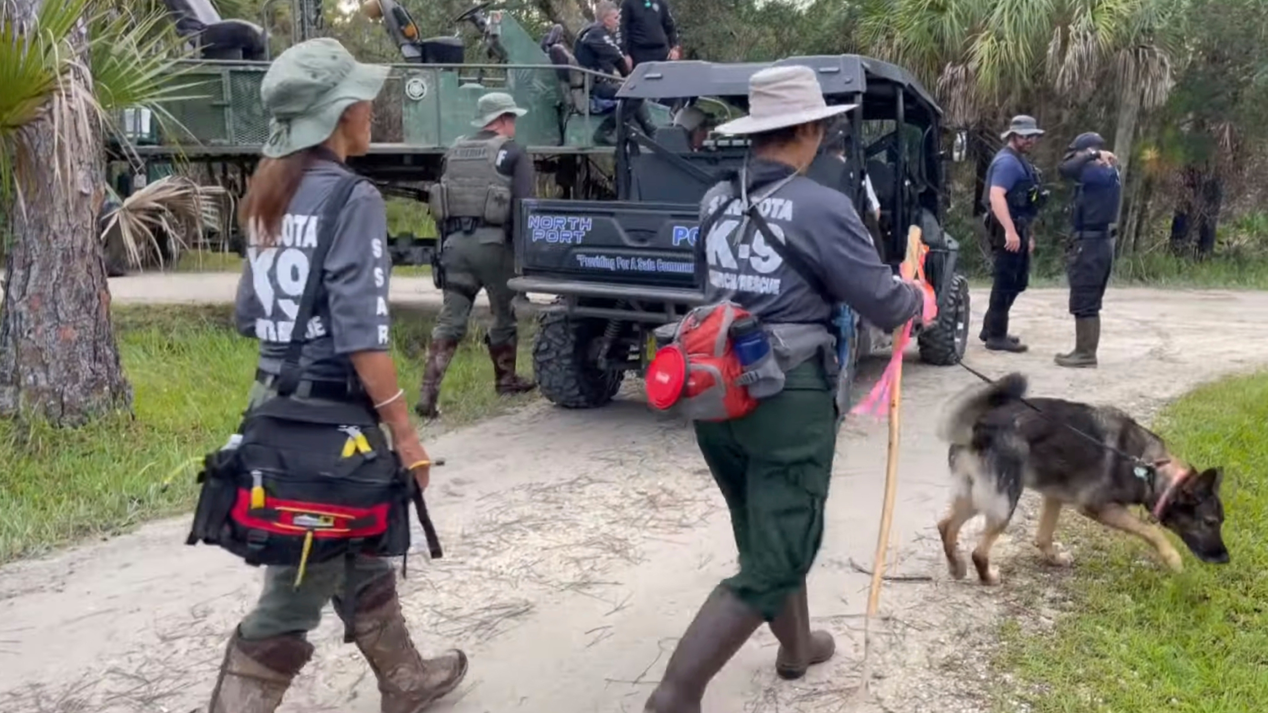 """Search teams fanout at Carlton Reserve park near North Port, Fla., to search for Brian Laundrie, the boyfriend of Gabrielle """"Gabby"""" Petito, on Sept. 22, 2021. (North Port Police Department via Associated Press)"""