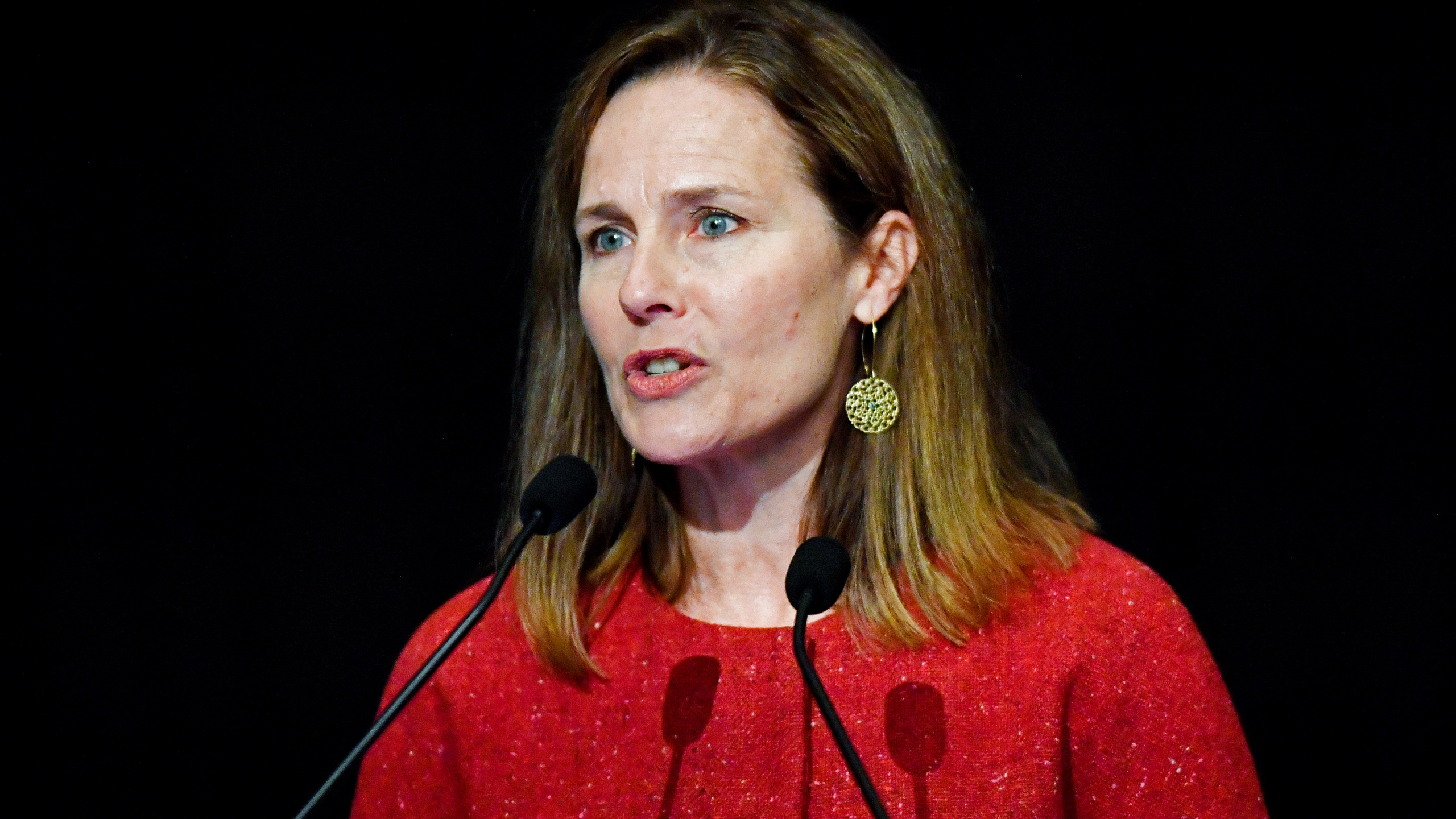 In this Sept. 12, 2021, file photo U.S. Supreme Court Associate Justice Amy Coney Barrett speaks to an audience at the 30th anniversary of the University of Louisville McConnell Center in Louisville, Ky. (AP Photo/Timothy D. Easley, File)