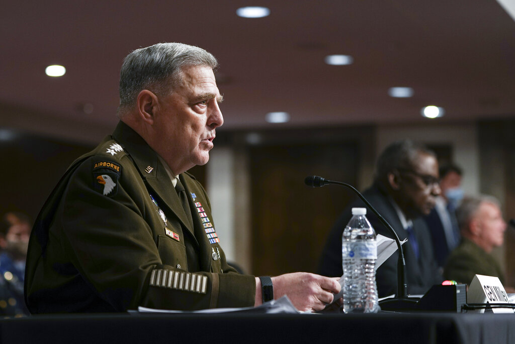 Chairman of the Joint Chiefs of Staff Gen. Mark Milley speaks during a Senate Armed Services Committee hearing, Tuesday, Sept. 28, 2021, on Capitol Hill in Washington. (Sarahbeth Maney/The New York Times via AP, Pool)