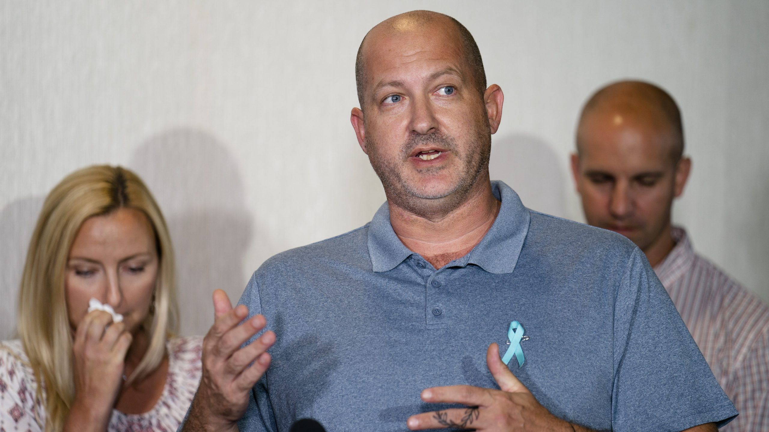 Joseph Petito, father of Gabby Petito, whose death on a cross-country trip has sparked a manhunt for her boyfriend Brian Laundrie, speaks during a news conference in Bohemia, N.Y., on Sept. 28, 2021. (John Minchillo / Associated Press)