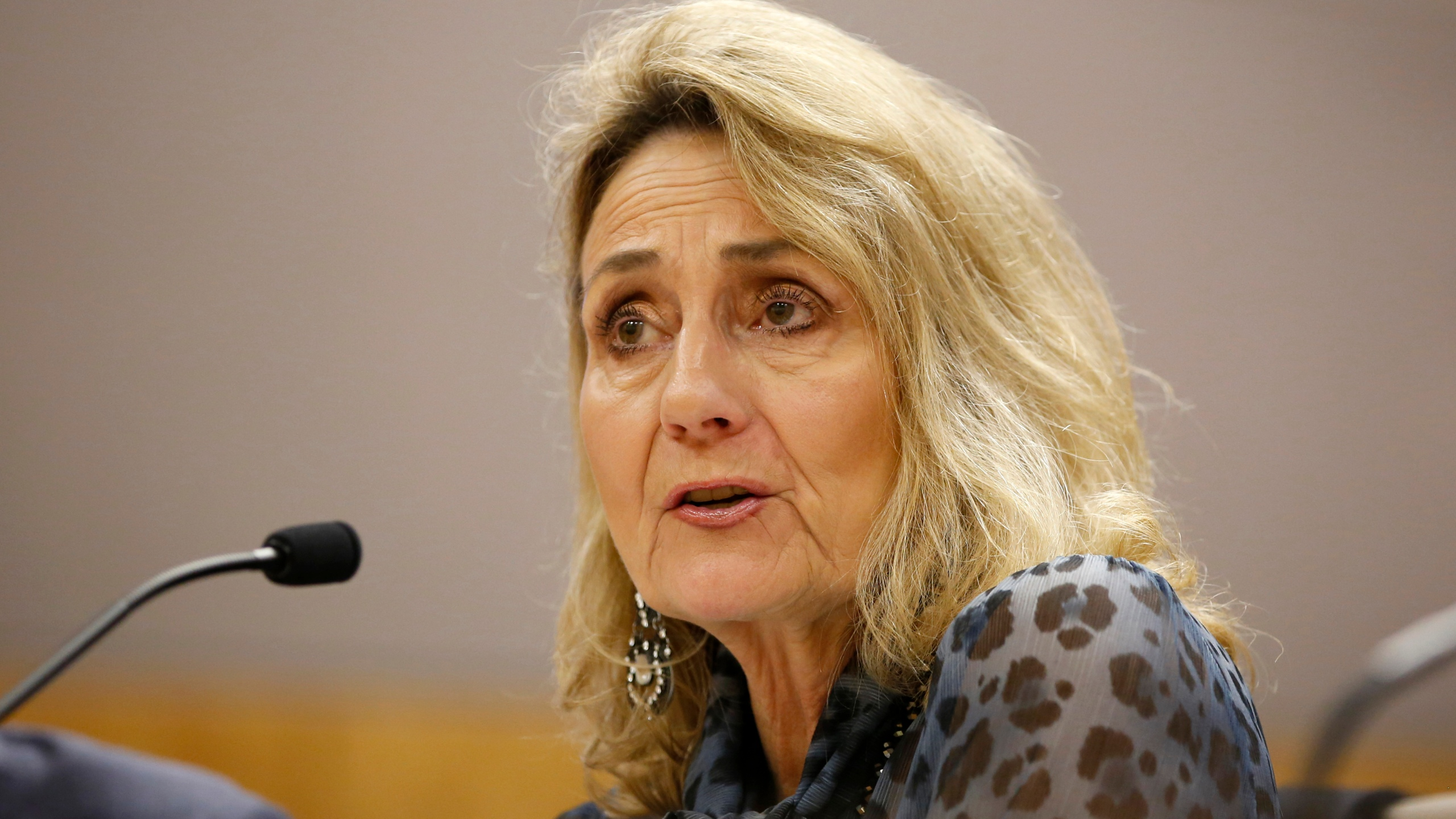 In this Jan. 8, 2020, file photo is Marybel Batjer, president of the California Public Utilities Commission, appears before a state Senate committee hearing in Sacramento, Calif. (AP Photo/Rich Pedroncelli, File)