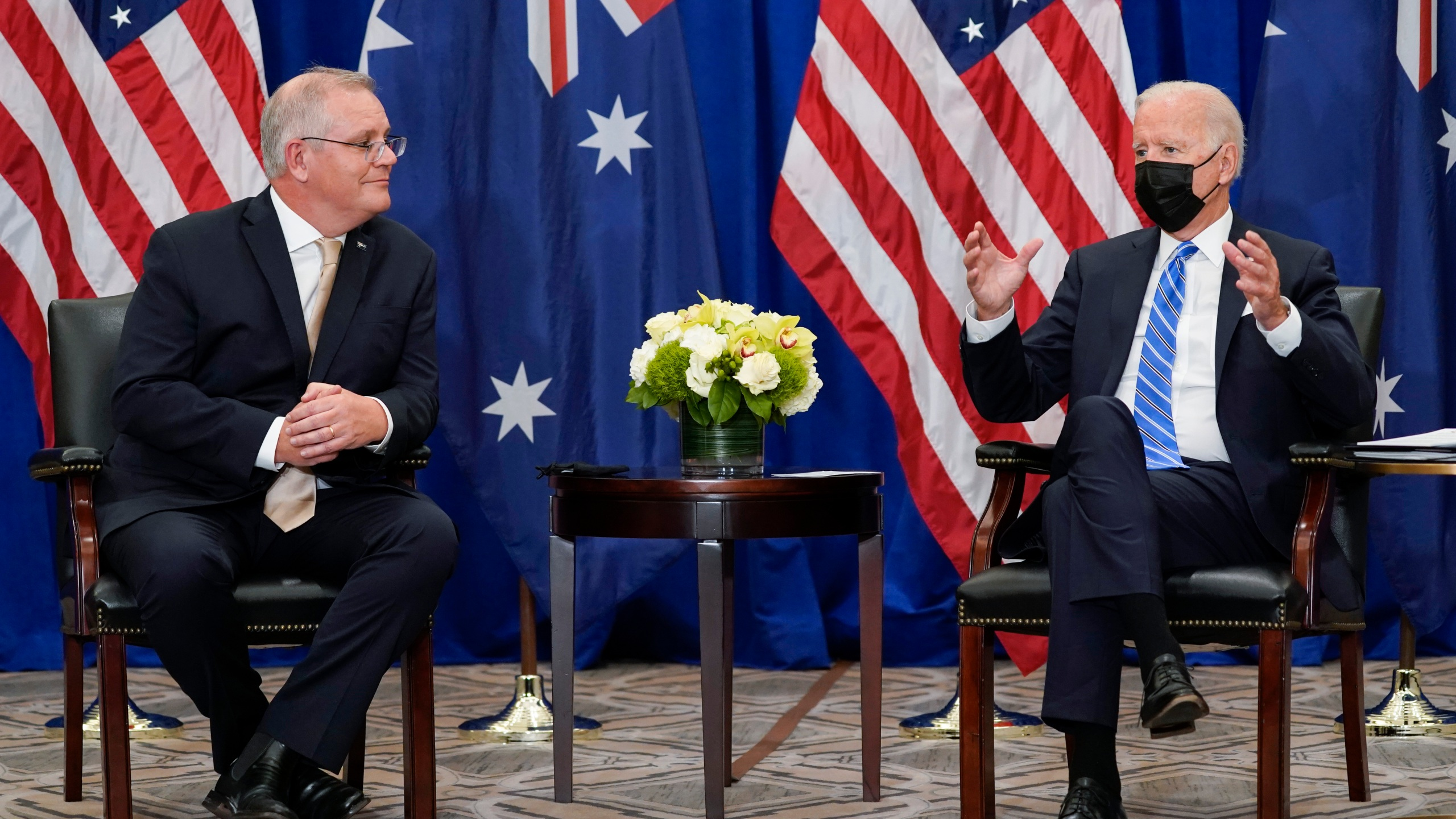 """In this Sept. 21, 2021, file photo President Joe Biden meets with Australian Prime Minister Scott Morrison at the Intercontinental Barclay Hotel during the United Nations General Assembly in New York. Biden is set to host the first ever in-person gathering of leaders of the Indo-Pacific alliance known as """"the Quad"""" on Friday, wrapping up a tough week of diplomacy in which he faced no shortage of criticism from both allies and adversaries. (AP Photo/Evan Vucci)"""