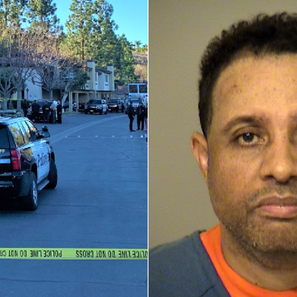 Deputies respond to a report of a shooting at an apartment complex in Thousand Oaks on Jan. 11, 2021. (Ventura County Sheriff's Office) On the right, Tim Gautier is seen in a photo released by the Sheriff's Office on Jan. 12, 2021.