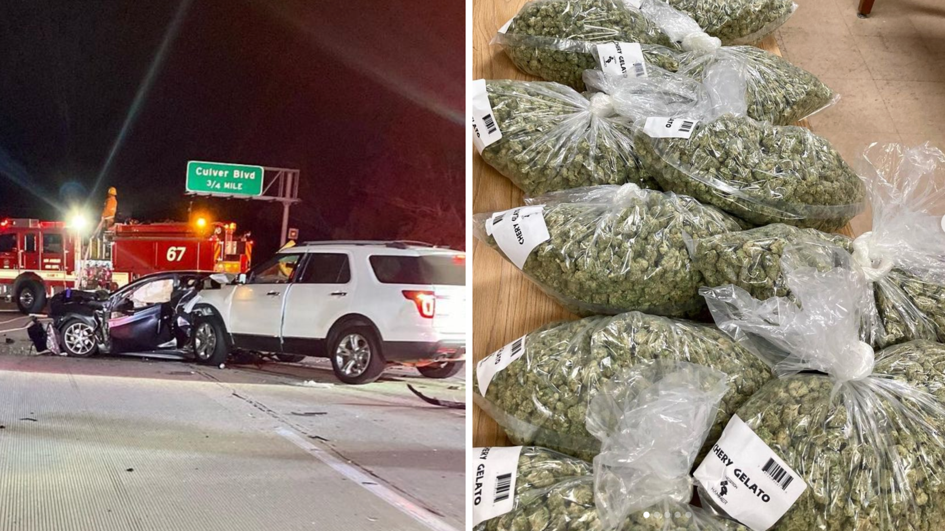 California Highway Patrol on Sept. 30, 2021, released these images after 37 pounds worth of Marijuana were discovered following a crash on the 90 Freeway in Playa del Rey. (chpwestala)