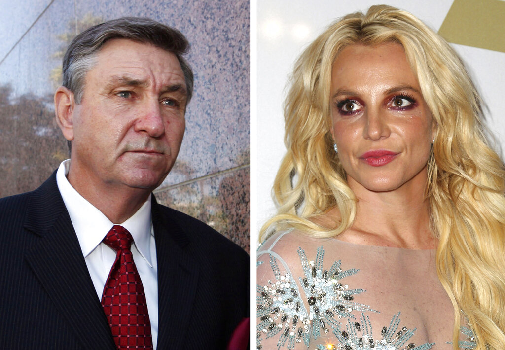 This combination photo shows Jamie Spears, left, father of Britney Spears, as he leaves the Stanley Mosk Courthouse on Oct. 24, 2012, in Los Angeles and Britney Spears at the Clive Davis and The Recording Academy Pre-Grammy Gala on Feb. 11, 2017, in Beverly Hills, Calif. (AP Photo)