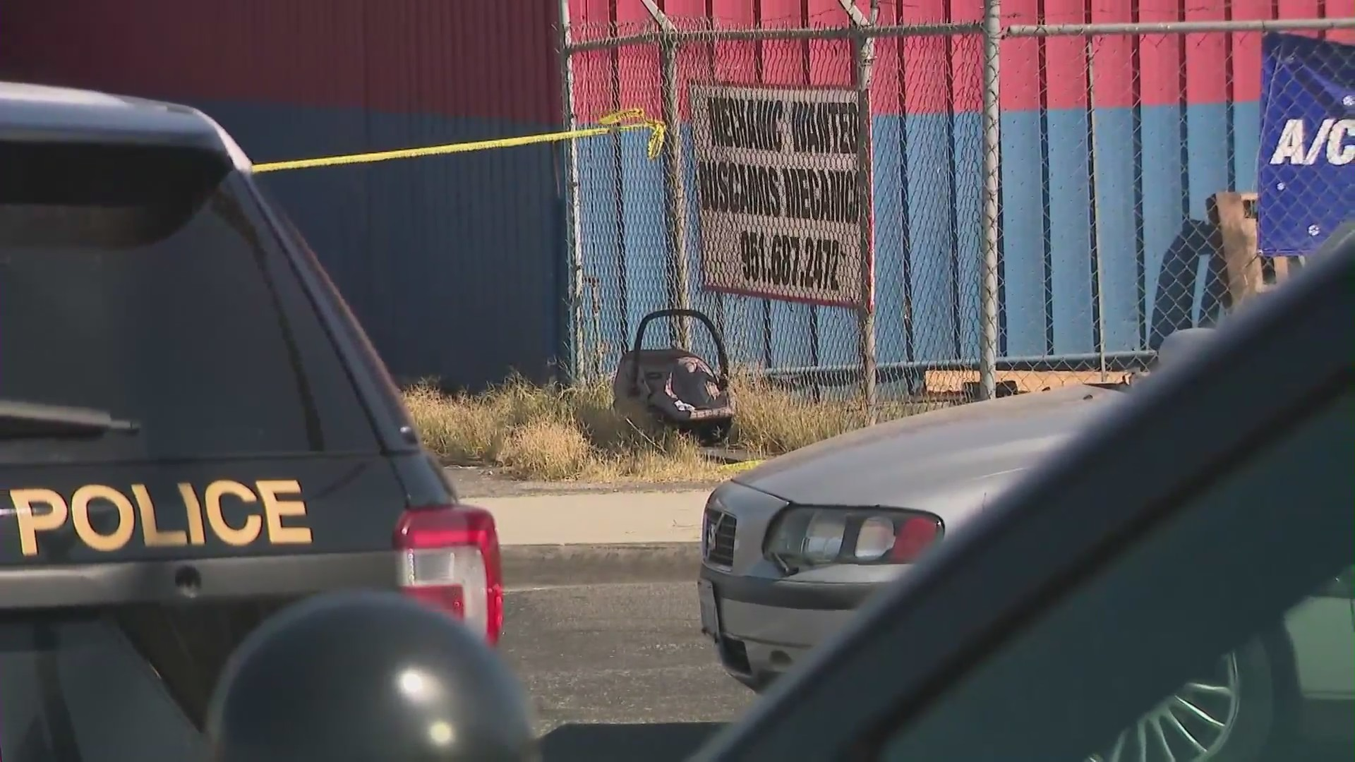 A man was shot and killed with a baby in the car with him on Sept. 19, 2021. (KTLA)