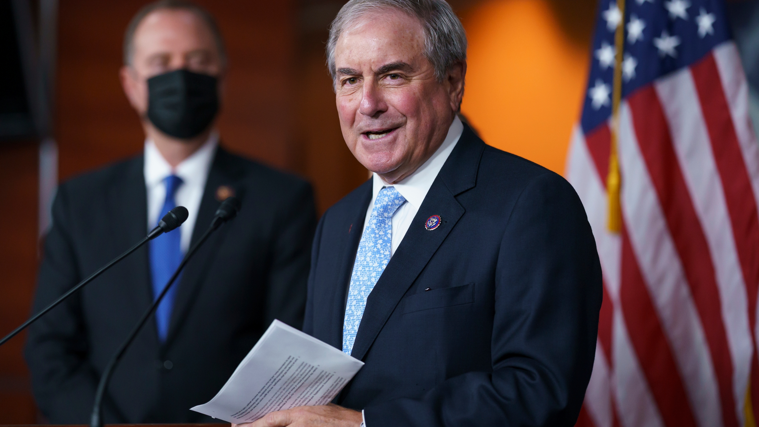 In this Sept. 21, 2021, file photo House Budget Committee Chair John Yarmuth, D-Ky., joined at left by House Intelligence Committee Chairman Adam Schiff, D-Calif., talks to reporters at the Capitol in Washington. (AP Photo/J. Scott Applewhite)