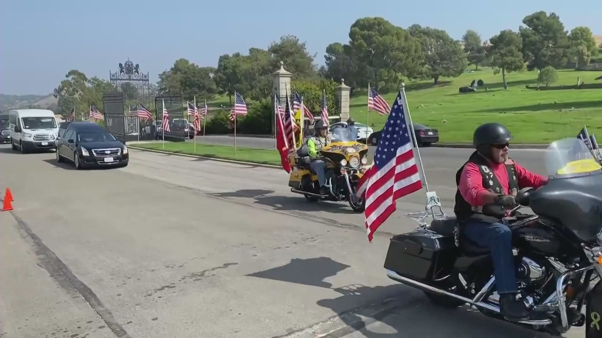 A procession paid tribute to fallen Marine Lance Cpl. Dylan Merola on Sept. 26, 2021. (KTLA)